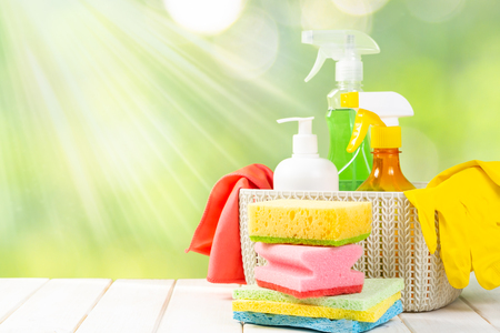 Spring cleaning concept - cleaning products, gloves