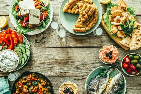 Selection of traditional greek food