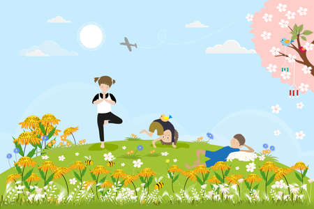 Illustration pour Cute cartoon Spring landscape with Children having fun the the park, boy sleeping with cat under the tree, other kids doing yoga. Vector spring scene with birds family standing on cherry blossom branches. - image libre de droit