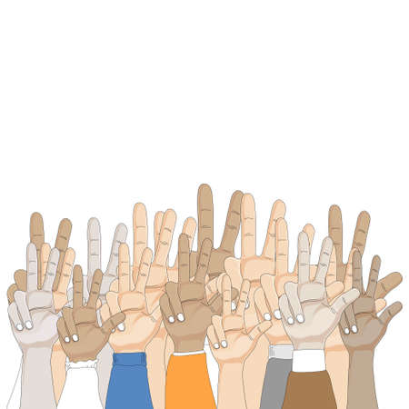 Illustration for Group of people Hands showing three fingers on white background, Vector illustration three finger gesture sign, Cartoon Hand showing number 3, Raise 3 fingers symbolic gestures concept. - Royalty Free Image