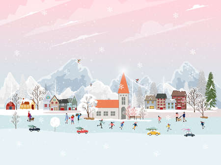 Illustration for Winter landscape at night with people having fun doing outdoor activities on new year,Christmas day in village with people celebration, kid playing ice skates, teenagers skiing with snow falling - Royalty Free Image
