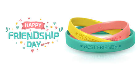 Friendship Day greeting card, happy holiday of amity. Three rubber bracelets for best friends yellow, pink and turquoise. Silicone wristbands and inscription of congratulations on white backgroundのイラスト素材
