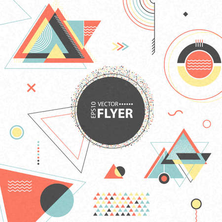Illustration pour Abstract geometric background. Retro flyer with chaotic geometric shapes. Colorful hipster pattern with triangles. Illustration for placards, posters, wallpaper, flyers, banner designs and covers - image libre de droit