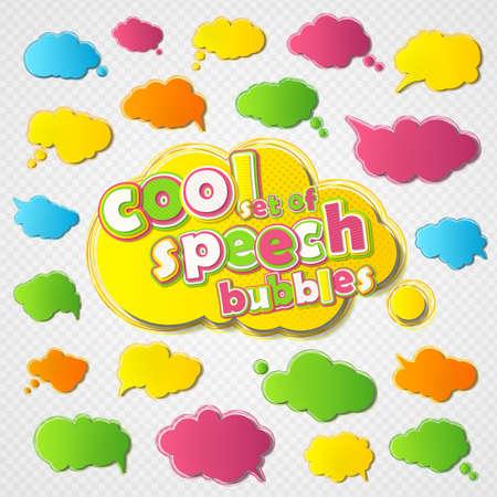 Illustration pour Collection of templates speech bubbles in pop art style. Elements of design comic books. Set of thought or communication bubbles. Vector illustration - image libre de droit