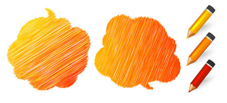 Illustration pour Speech bubbles draw pencils. Hand drawn doodles banners with place for quotes on white background. Two orange sketch clouds, lines stroke and scribble. Vector illustration - image libre de droit