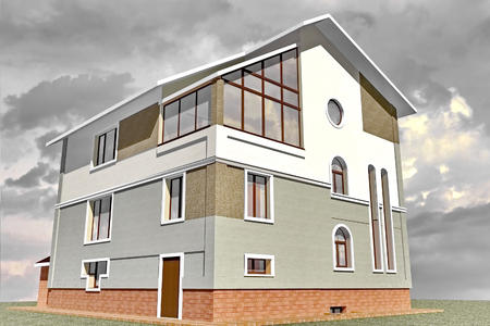 Photo pour Facades storey residential building constructed in traditional style 3D Rendering - image libre de droit