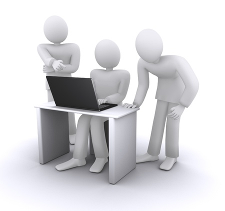 business partners around the computer, the discussion   of ideas