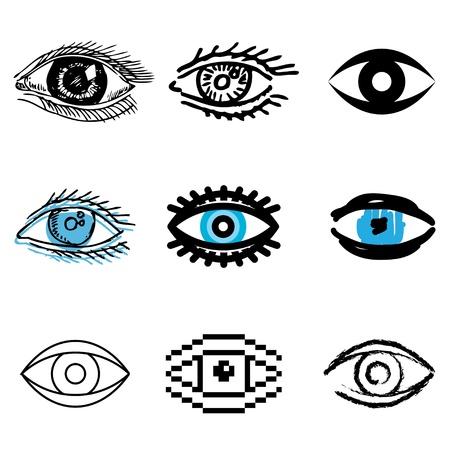eye icons vector set