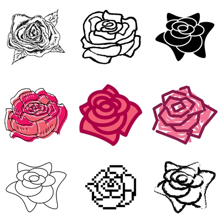 rose icons vector set