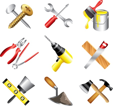 construction tools icons detailed vector set