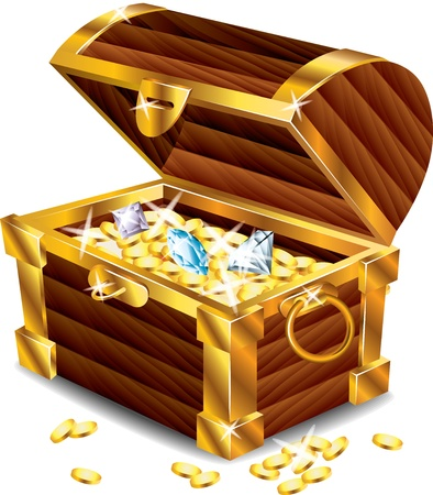 Illustration pour opened treasure chest with treasures photo-realistic vector - image libre de droit