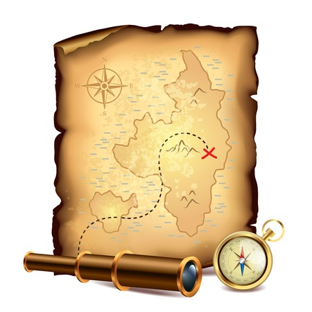 Pirates treasure map with spyglass and compass illustration