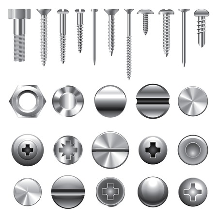 Screws, nuts and rivets icons detailed vector set