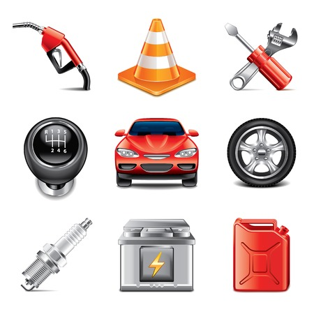 Car service and tools icons high detailed vector set