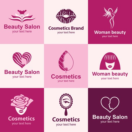 beauty salon flat icons set logo ideas for brand
