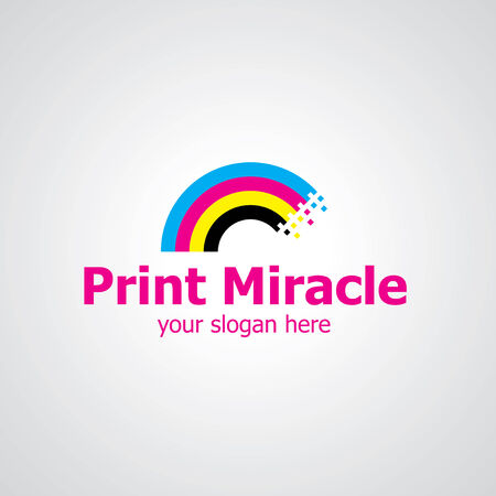Rainbow from print colors vector icon design, icon idea for printing house brand