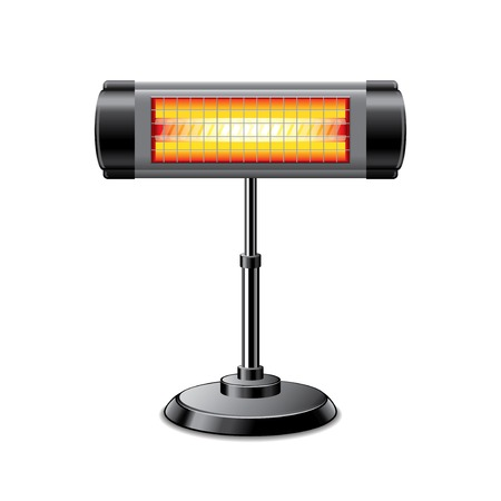 Electric heater isolated on white photo-realistic vector illustration