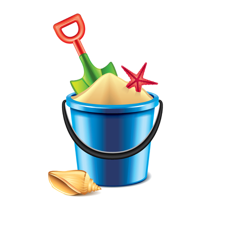 Toy bucket and spade isolated on white photo-realistic vector illustration