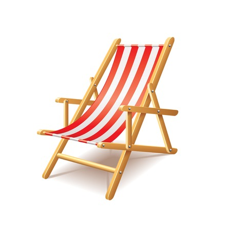 Deck chair isolated on white photo-realistic vector illustration