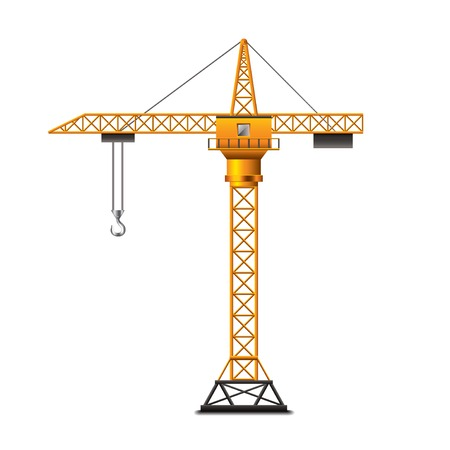 Ilustración de Construction crane isolated on white photo-realistic vector illustration - Imagen libre de derechos
