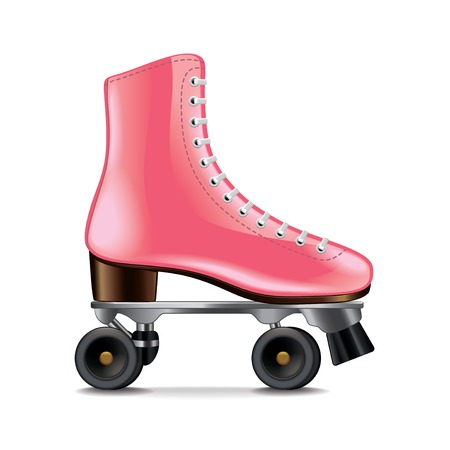 Roller skates isolated on white photo-realistic vector illustration
