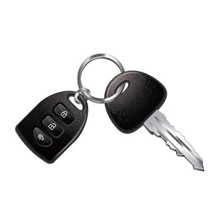 Car keys isolated on white photo-realistic vector illustration
