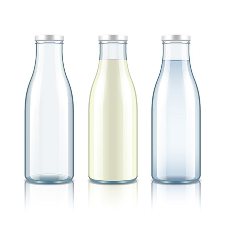 Glass bottle with milk, water and empty isolated on white