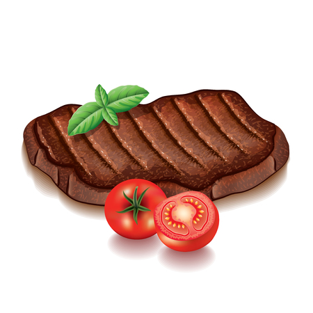 Grilled meat with greens isolated on white photo-realistic vector illustration