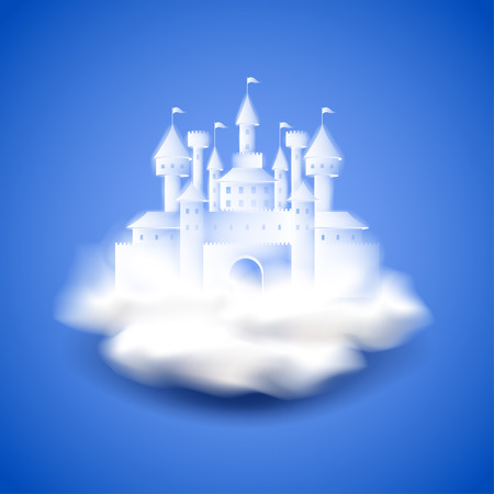 Illustration for Air castle on blue photo realistic vector background - Royalty Free Image