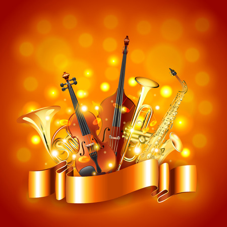 Musical instruments golden photo realistic vector background