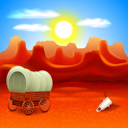 Illustration pour Wild west landscape with old wagon in mountains vector background - image libre de droit
