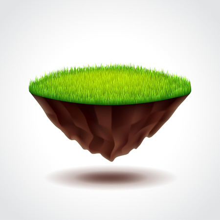 Floating island with green grass photo realistic vector illustration
