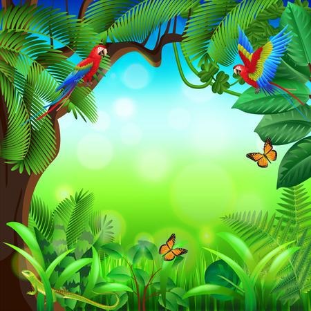 Ilustración de Tropical jungle with animals photo realistic vector background - Imagen libre de derechos