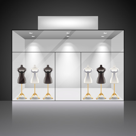 Illuminated shop showcase interior with mannequins photo realistic vector background