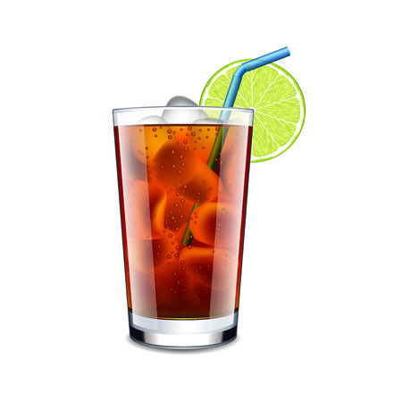 Long island cocktail isolated on white photo-realistic vector illustration
