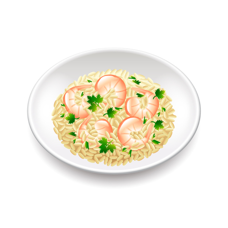 Risotto isolated on white photo-realistic vector illustration