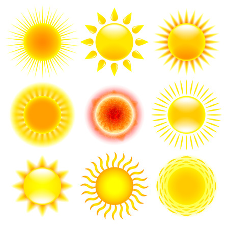 Illustration for Sun icons detailed photo realistic vector set - Royalty Free Image