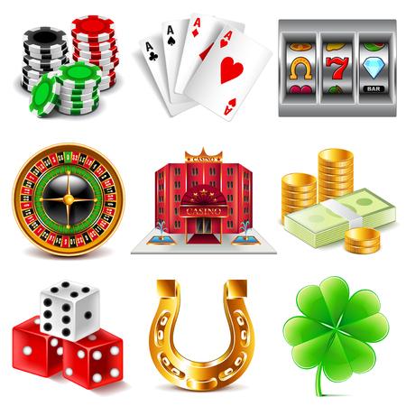 Illustration pour Casino and gambling icons detailed photo realistic vector set - image libre de droit