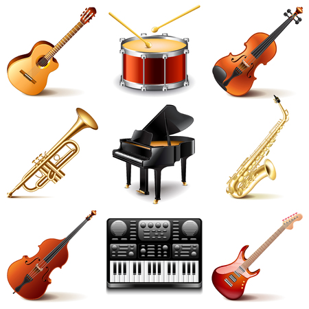 Musical instruments icons photo realistic vector set