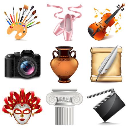 Illustration pour Art icons detailed photo realistic vector set - image libre de droit