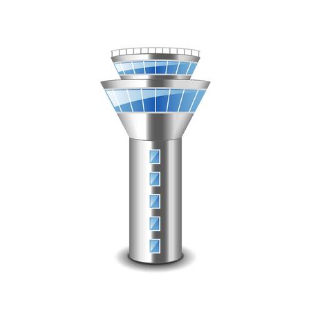 Ilustración de Tower control isolated on white photo-realistic vector illustration - Imagen libre de derechos