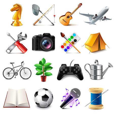 Hobby icons detailed photo realistic set