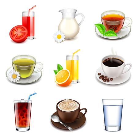 Illustration pour Non-alcoholic icons detailed photo realistic vector set - image libre de droit