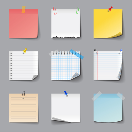 Illustration for Post it notes icons detailed photo realistic vector set - Royalty Free Image