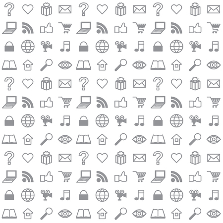 Illustration for Flat social media icons seamless vector background - Royalty Free Image