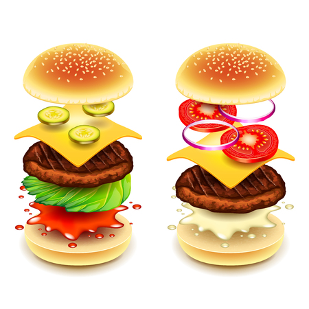 Sandwich burger layers isolated on white photo-realistic vector illustration