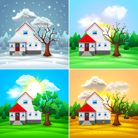 Ilustración de House and nature four seasons photo-realistic vector illustration - Imagen libre de derechos