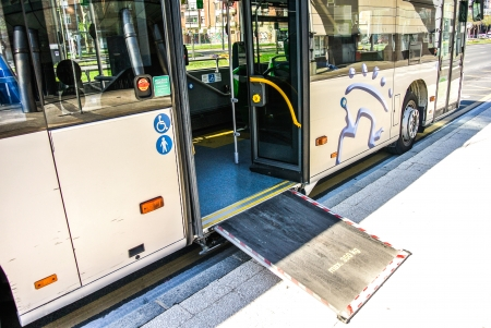 An urban bus with an access ramp for disabled person a babies in Vitoria  Alava, Spain
