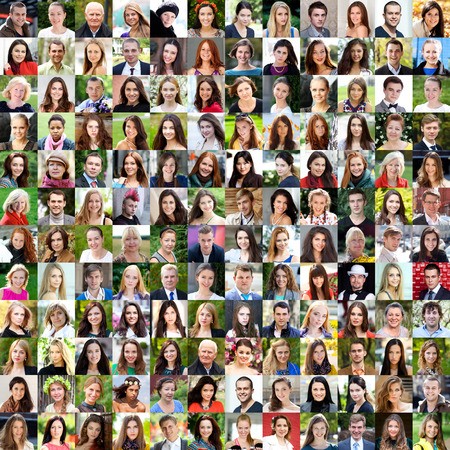 Photo pour Collection of different caucasian women and men ranging from 18 to 50 years - image libre de droit
