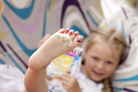 Body part, Painted childrens fingers feetの写真素材